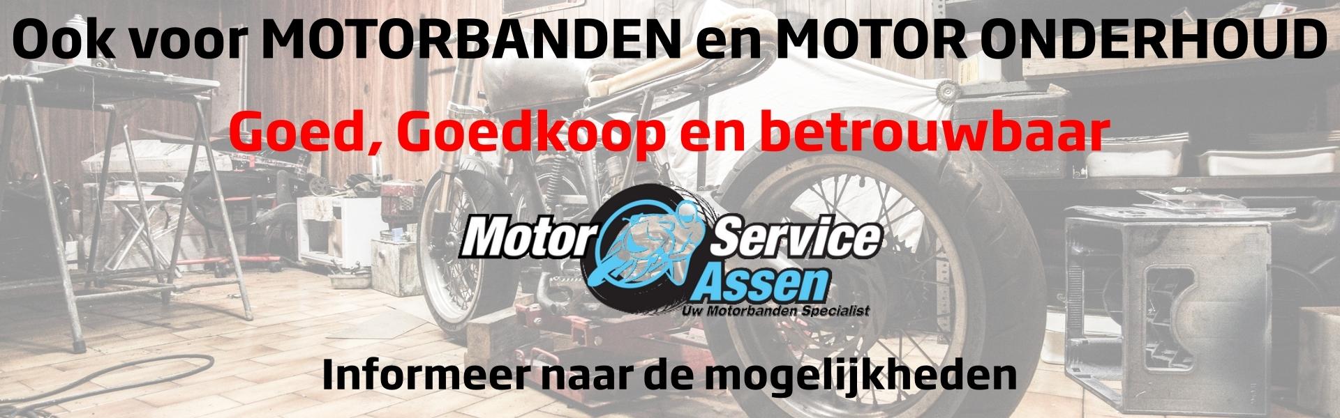 Ook voor uw motorbanden en onderhoud moet u bij Banden en Autoservice Assen zijn, informeer naar de mogelijkheden.